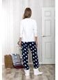 Lingabooms Yıldız Baskılı Kardam Adam Nakışlı Kadın 2'li Pijama Takım  Pembe